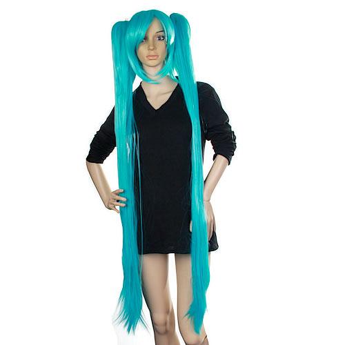 Blue Vocaloid Hatsune Miku Cosplay Wig w/ 2 Clip Ponytails