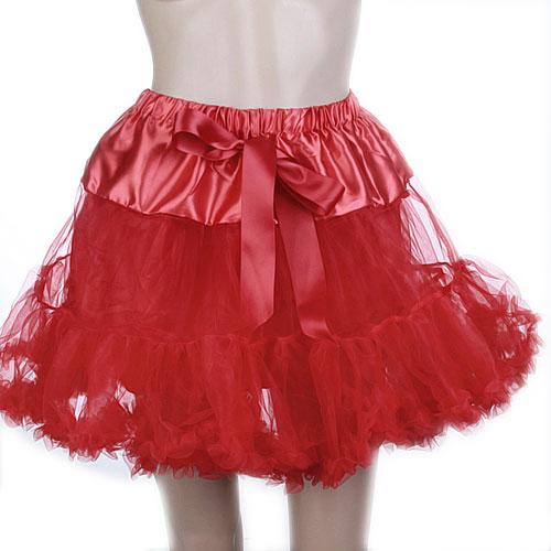 Tutu Skirt Layered Tulle Petticoat Crinoline Dress for Adult Girls - Red