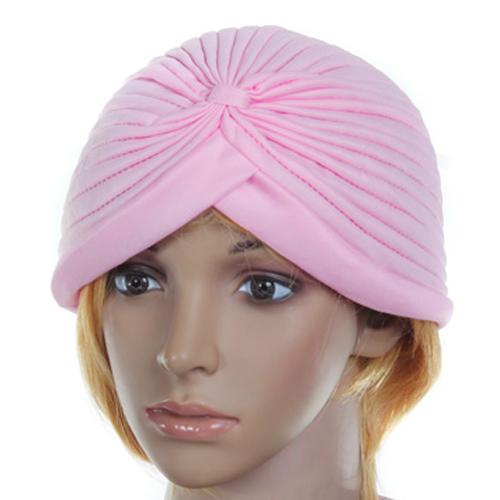 Pink Polyester Pleated Turban Head Wrap Headwrap Cap Twist Hat