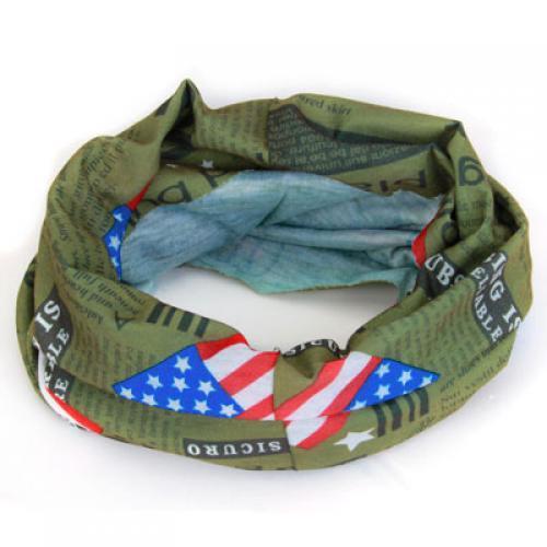 Multifunctional Headwear Headband Scarf Wristband Mask w/ American Flag