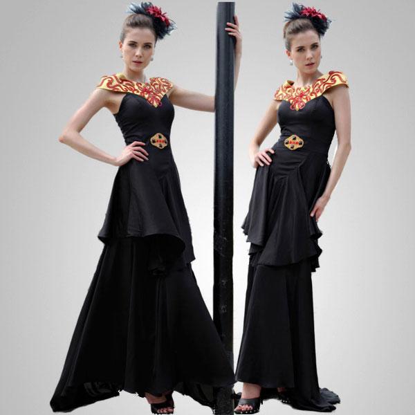 Black A-line V-neck Formal Evening Gown Prom Dress Size L