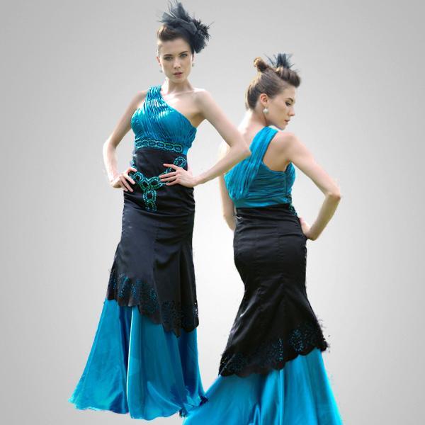 Royal Blue and Black One Shoulder Column Evening Dress Size XL