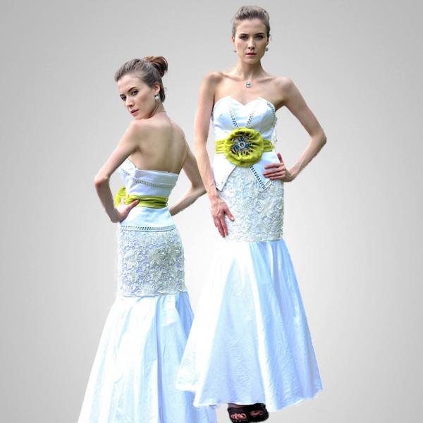 Pale Aqua Strapless A-line Formal Evening Gown Prom Dress Size L