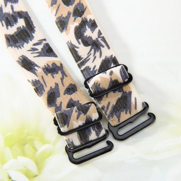1 pair Wide Leopard Print Elastic Bra Straps - Brown Leopard