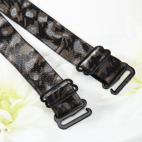 1 pair Wide Leopard Print Elastic Bra Straps - Deep Brown Leopard