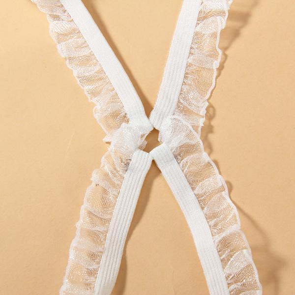 Simple Fresh Style Elastic Cross Back Bra Strap Adjustable - White W/ Lace Pattern