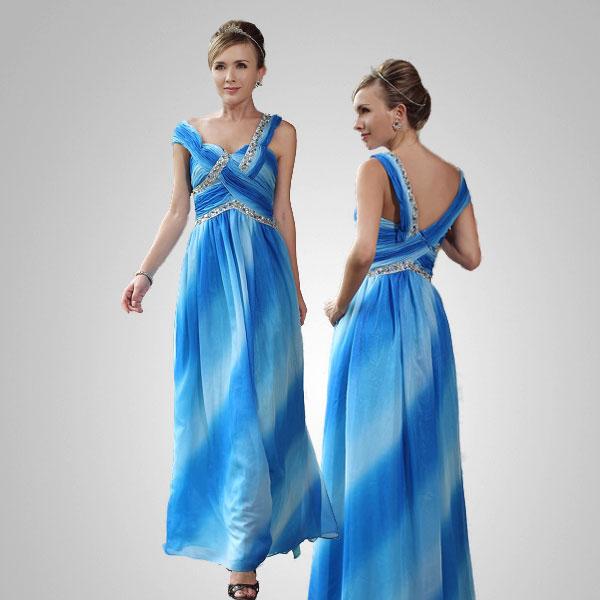 Gardient Blue A-line Sweetheart Neckline Formal Evening Gown Prom Dress Size XL