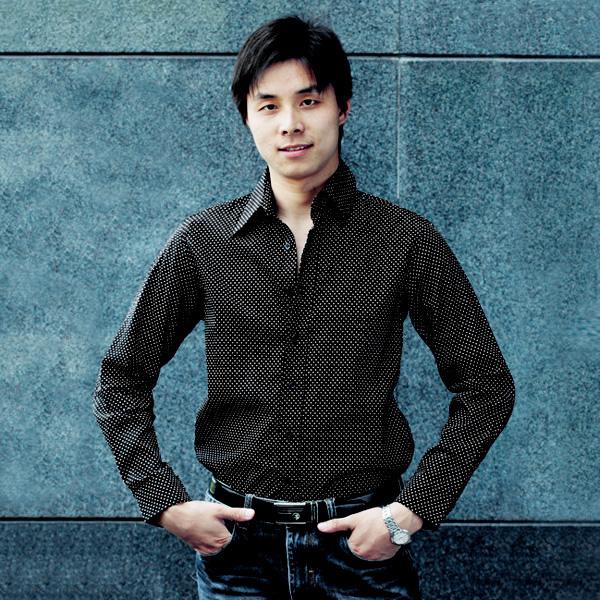 男式圆点扣休闲衬衫 黑色L