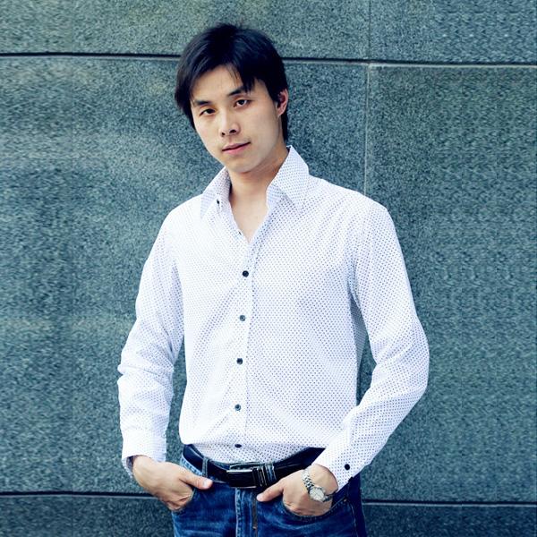 Size L Mens Slim Casual Long Sleeves Shirt - White w/ Black dot