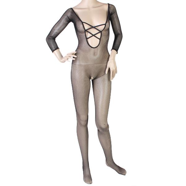 Sexy Black Camisole Fishnet Crotchless Body Stocking w/ Cross Straps