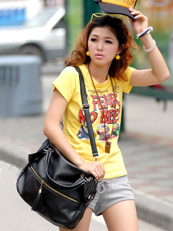 Women PU Leather Elegant Casual Shoulder Bag Handbag Black