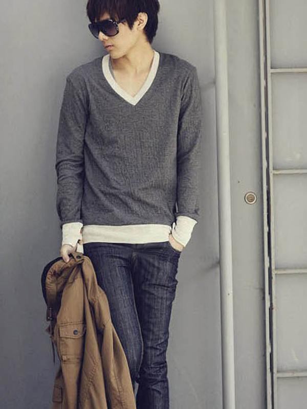 Size XL Men Long Sleeve V Neck Top T Shirt Grey