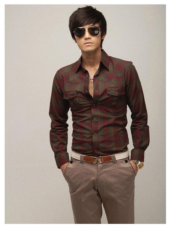 Size L Mens Casual Long Sleeves Shirt Brown Plaid