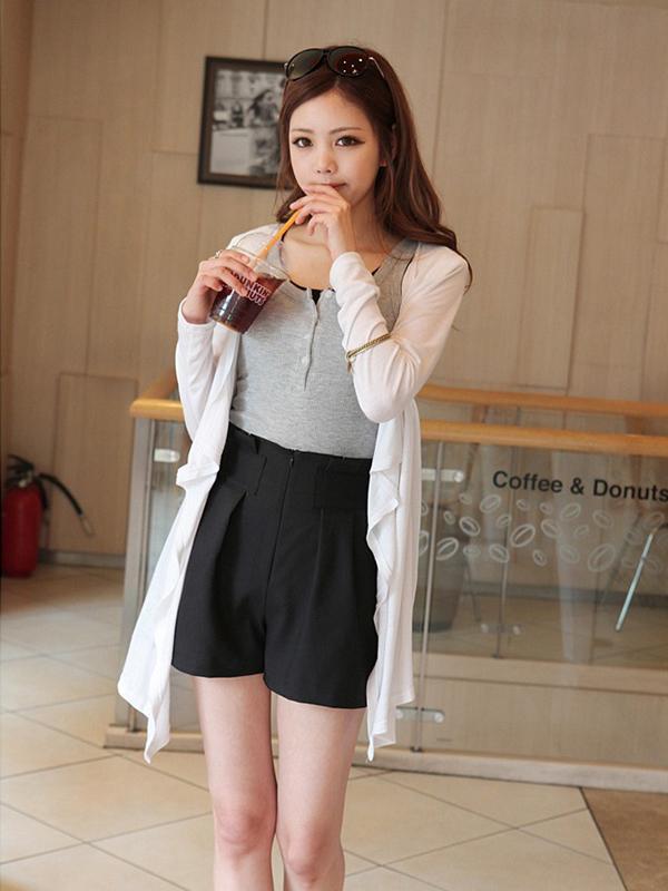 Graceful Women Asymmetrical Long Sleeve Knitting Cardigan Beige