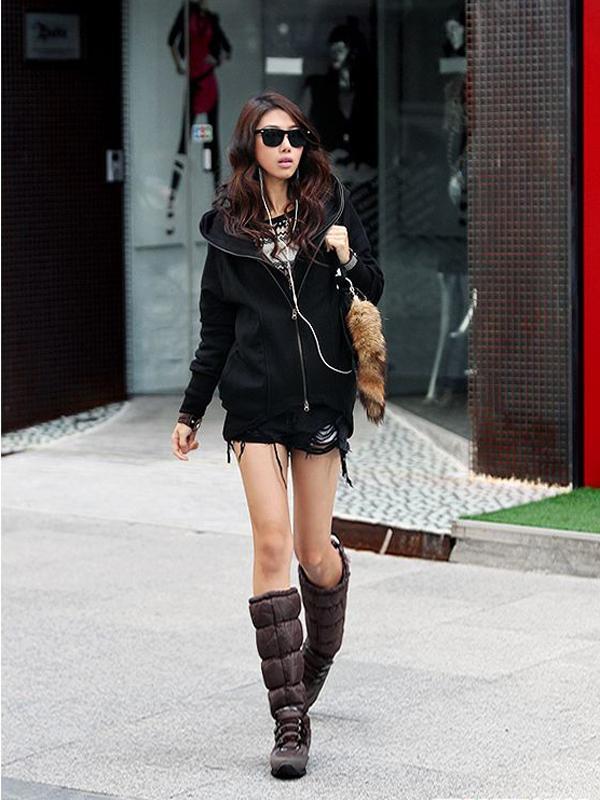 Women False 2PCS Double Zipper Hoodie Coat Outwear Black