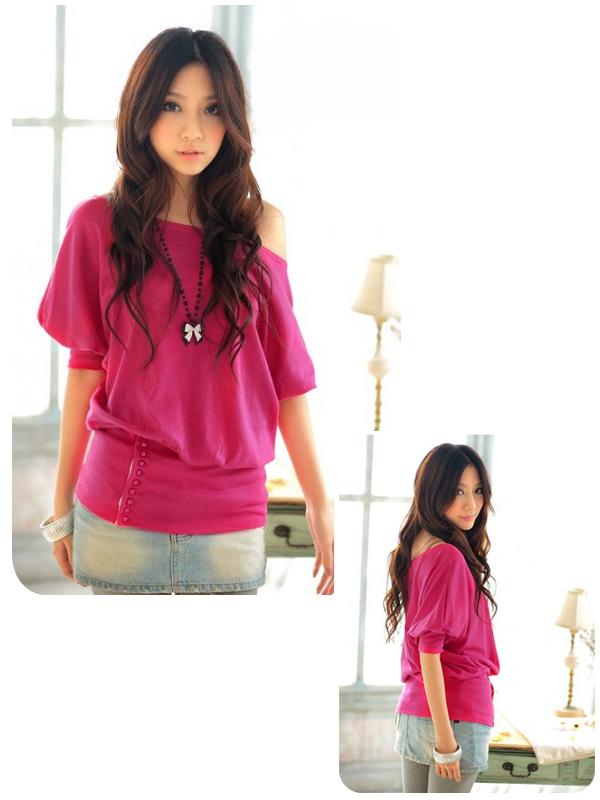 Womens Slim Tunic Batwing Short Sleeve T shirt Red