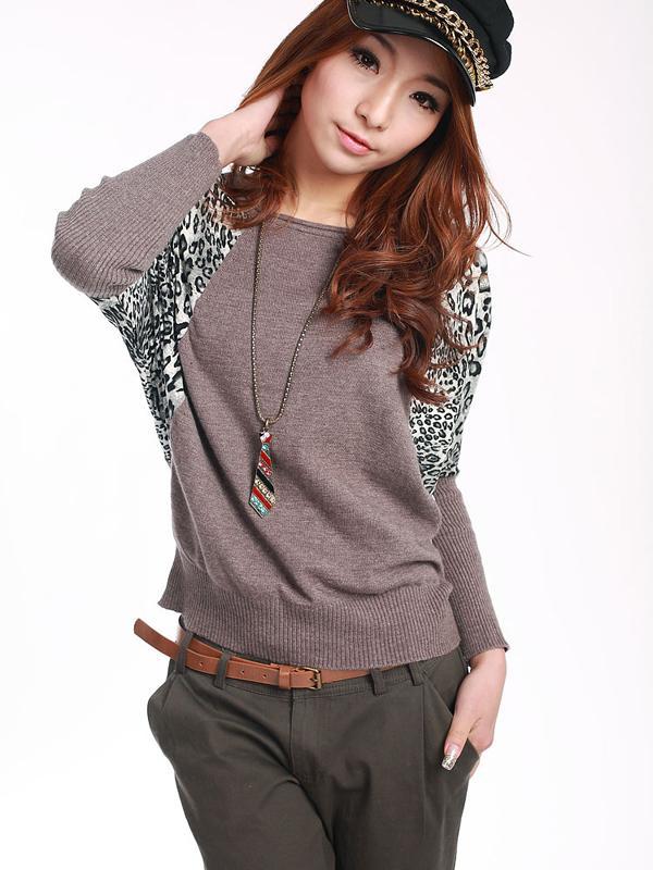 Korea Style Women Loose Batwing Sleeve Leopard Print Knitwear Khaki