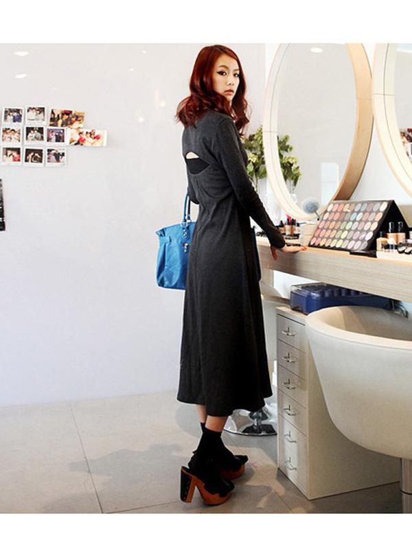 Slim Fit Solid Women Long Hollow Back V Neck Dress Charcoal Grey