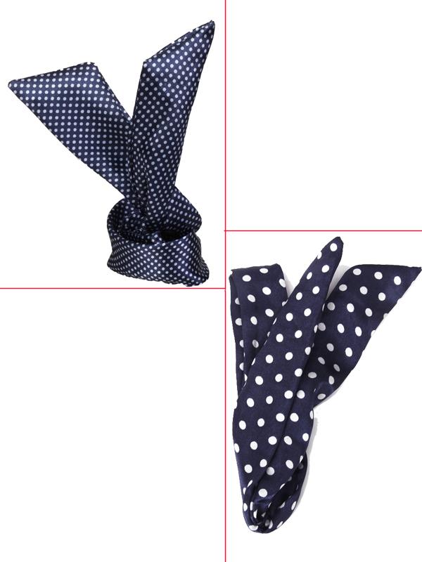 Japan Korea Style Rabbit Ear Satin Headband Wire Hair Band - Navy Blue with White Swiss Dots