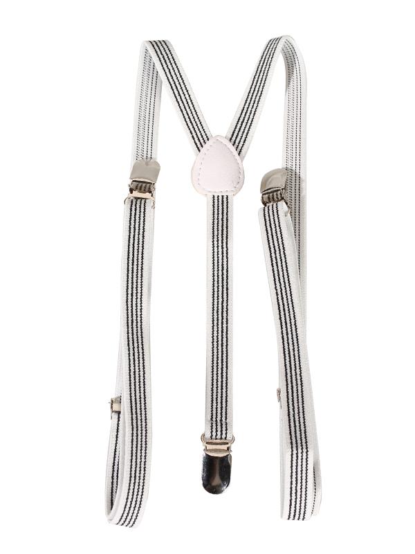 Clip-on Braces Elastic Y-back Suspender 37 x 9/16 inch - White w/ Black Stripes