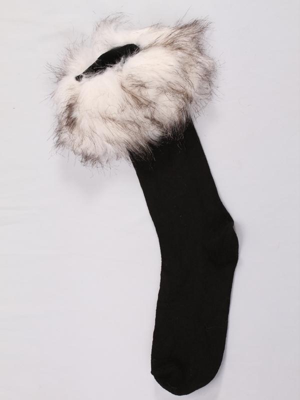 Black Boot Socks Leg Warmers Half Stockings w/ White and Black Mix Faux Fur Cuffs