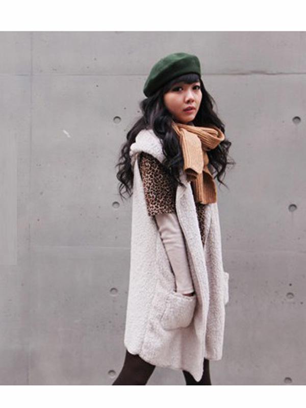 White Sleeveless Long Hooded Open Front Lamb Wool Tops for Women