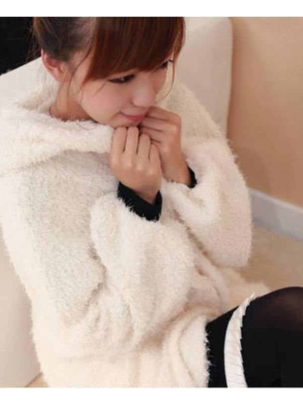 Beige Long Sleeve Hooded Open Front Coat Tops for Women