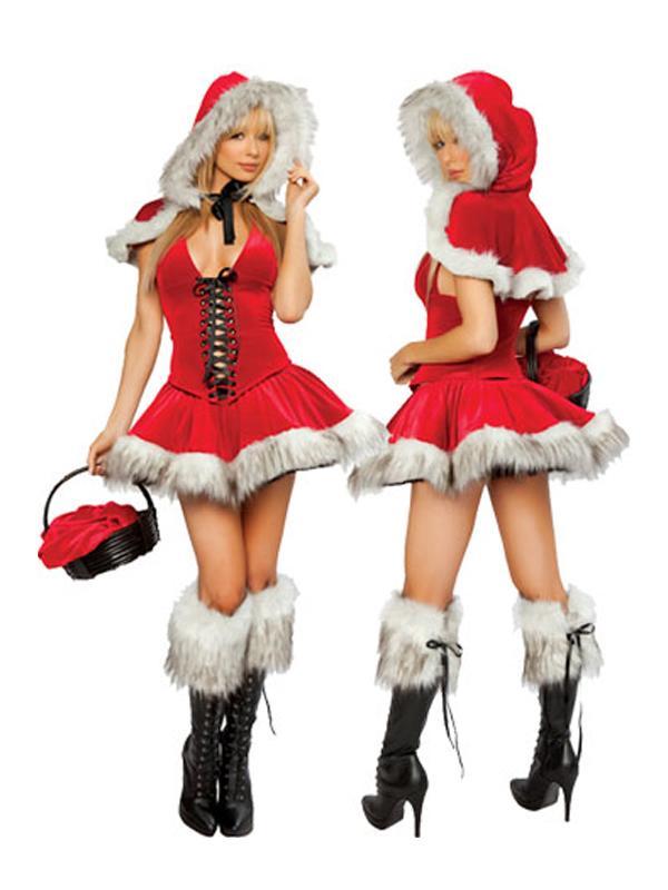 Three Pcs Sexy Miss Claus Christmas Santa Fancy Dress