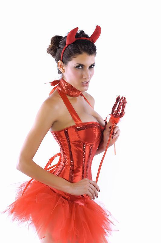 Women's Sexy Red Shining Devil Cosplay Fancy Dress Costume 8573M