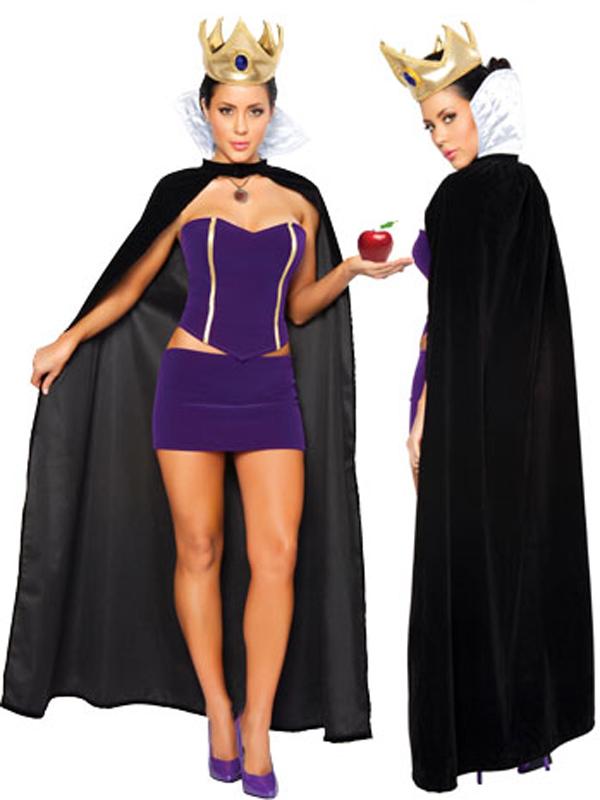 Women's Sexy Cloak Queen Cosplay Fancy Dress Costume 8567 Black + Purple