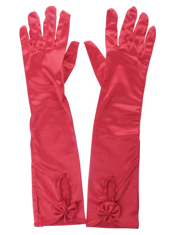Sweet Elbow Length Bridal Wedding Gloves 7091 Red