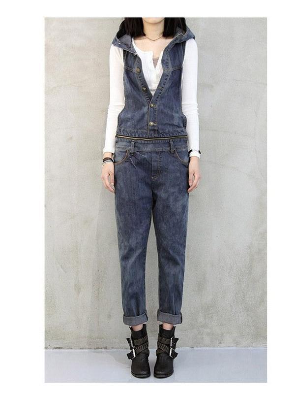 Fashion Women's Gilet Jeans Overalls I710 Denim Blue XL