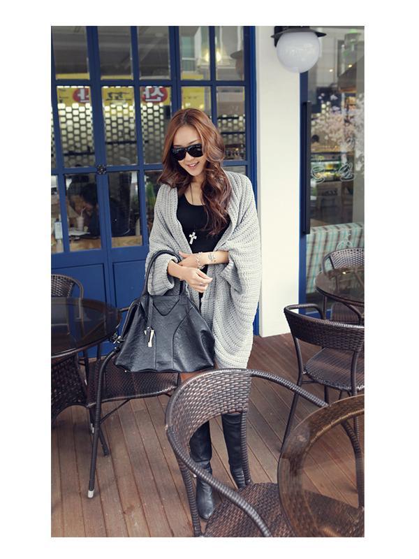 Women's Pure Grey Batwing Cardigan Tops B480