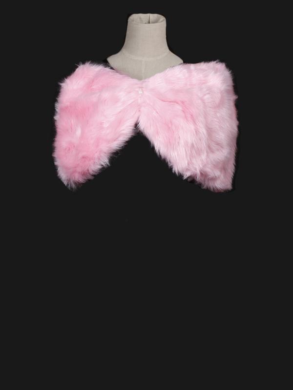 Women Artificial Fur Evening Party Shawl Pink