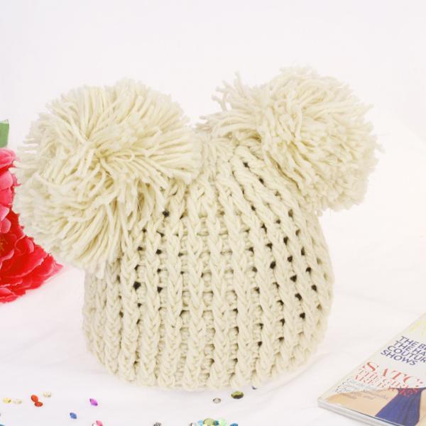 Cute Double Fluff Balls Knit Hat C030 Beige Wholesale