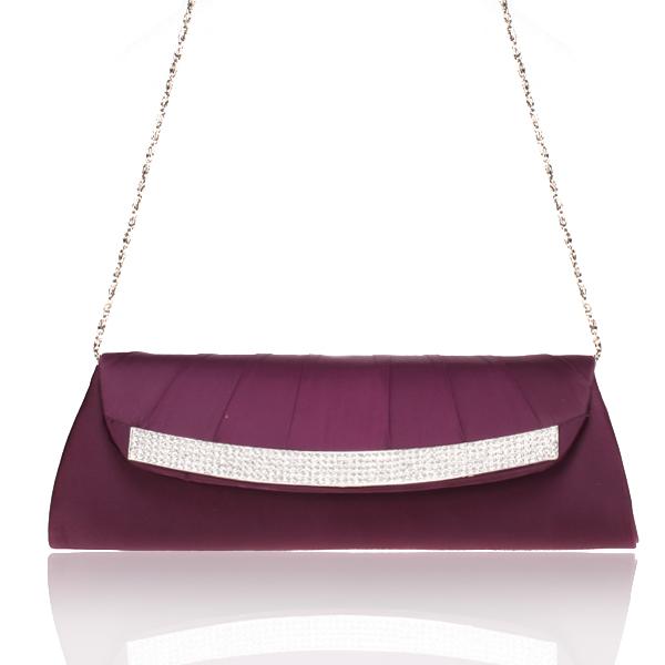 Satin Purple Bridal/Evening/Party Clutch Handbag w/ Rhinestones Style 001