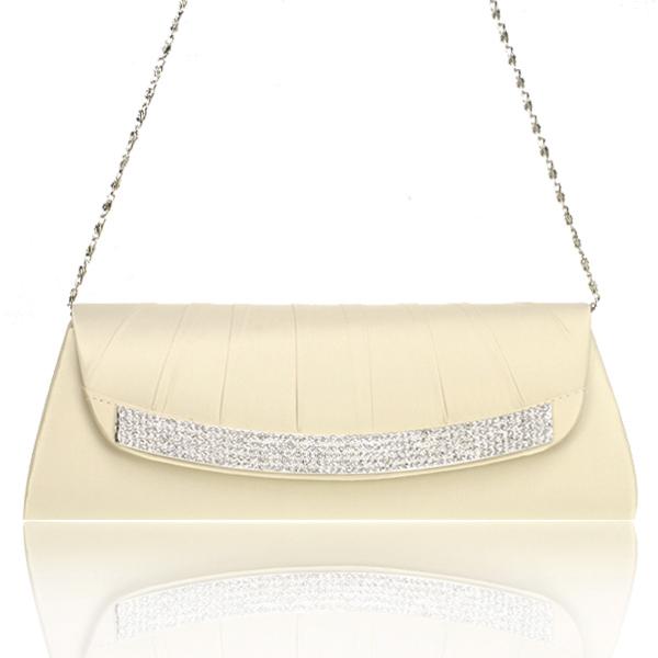 Satin Apricot Bridal/Evening/Party Clutch Handbag w/ Rhinestones Style 002