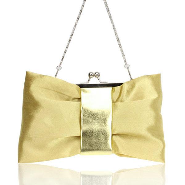 Satin Flat Bowttie Golden Bridal/Evening/Party Clutch Handbag Style 008