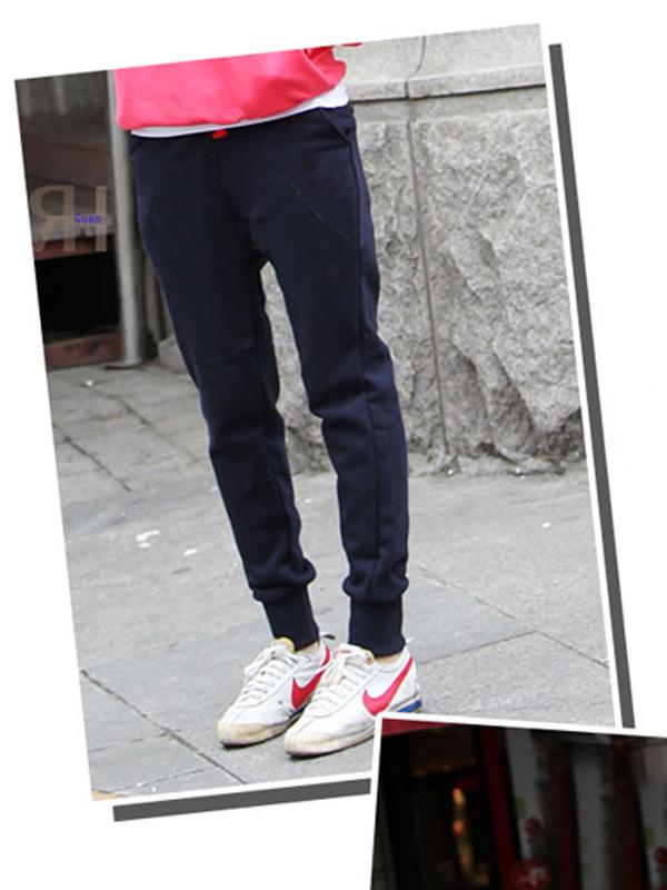 Women's Fashion Fleece Elasticated Waist Pants N407 Roral Blue M