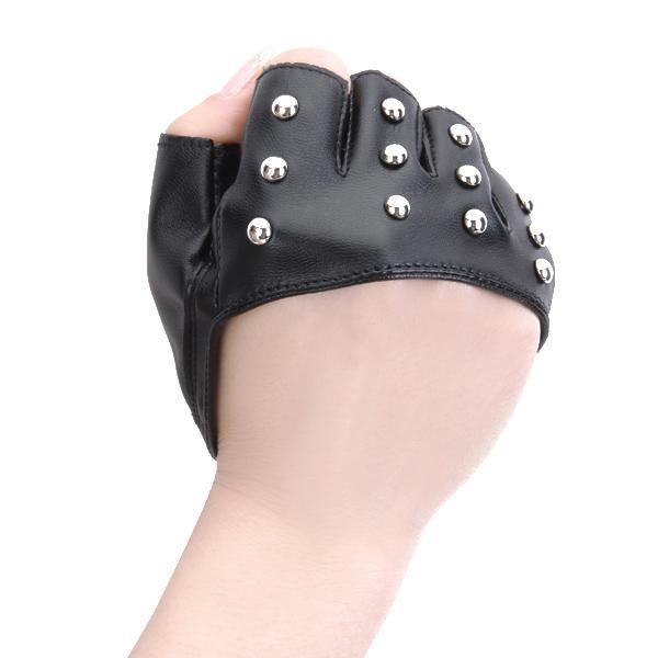 Fashion Mitts Rivet Palm-half PU Fingerless Gloves Party Gloves Black L