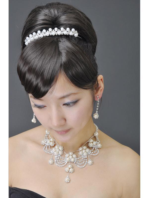 Bridal Rhinestone Pearl Beads Headband Tiara Style 006