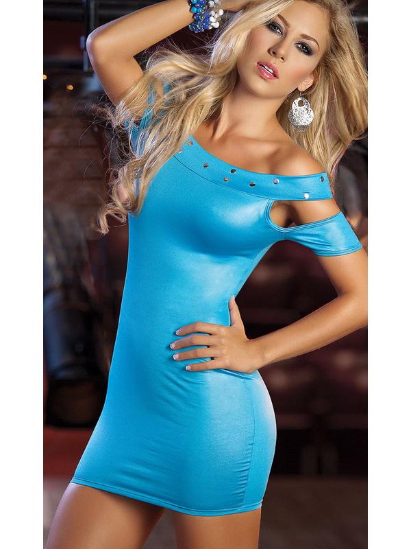 Sexy Slim Fit Butyl Drills Dress Enchanting Pure Color Dress 9098 Blue