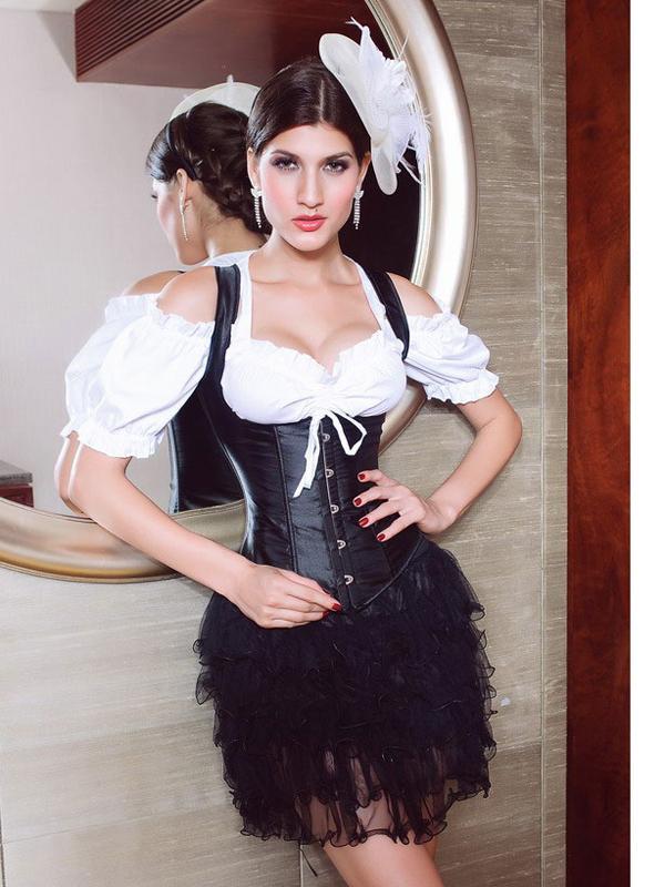 Sexy Women's Underbust Lace Up Strap Corset Bustier 5072 M Black