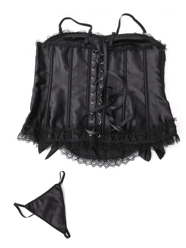 Sexy Lace Macrame Gallus Court Style Corset 5158 Black XXL