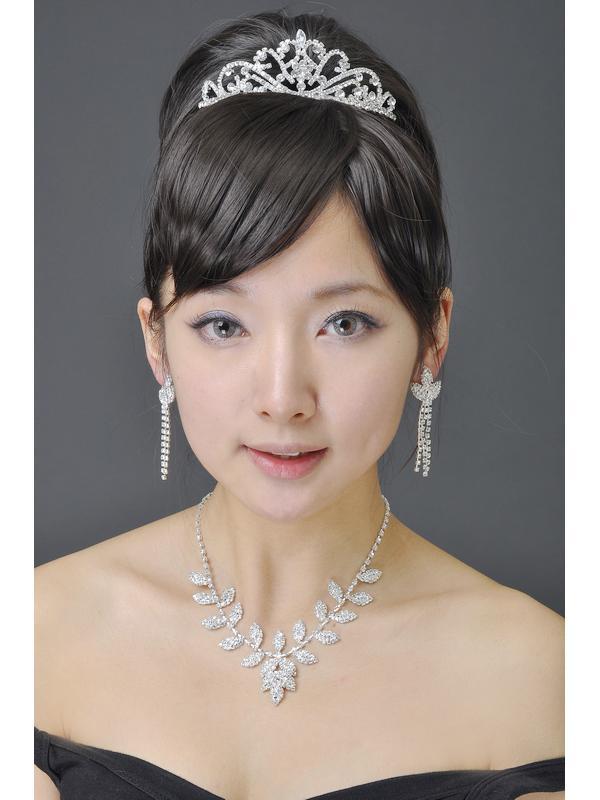 Bridal Wedding Jewelry Leaf Shape Necklace Tassel Earrings Set Style 001