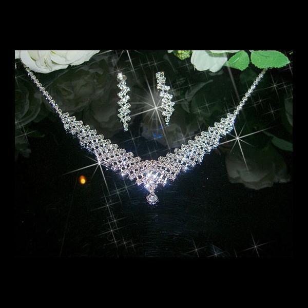 Bridal Wedding Waterdrop Jewelry Necklace Earrings Set Style 002