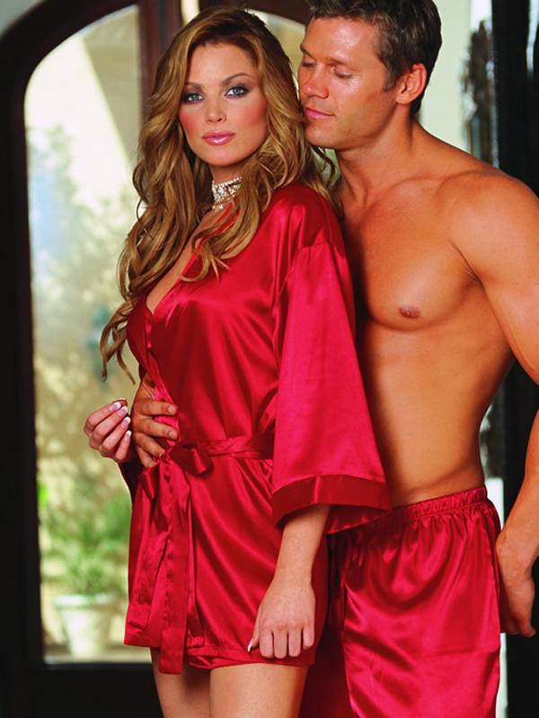 Women's Sexy Long Sleeve Belt Closure Kimono Sleepwear Lingerie Nightdress 9004 Red