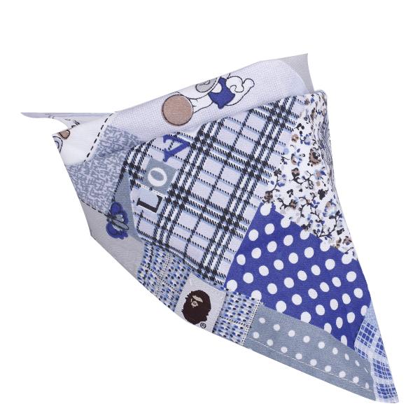 Lovely Triangular Scarf Baby Bib 193 Light Blue with Teddy Bear Pattern