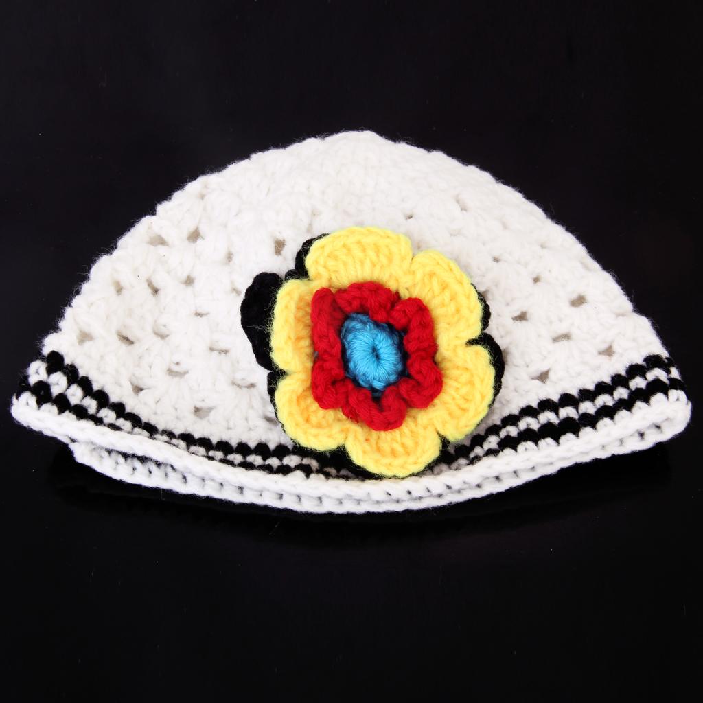 Cute Infant Cotton Crochet Toddler Cap Lovely Gorgeous Baby Beanie M White