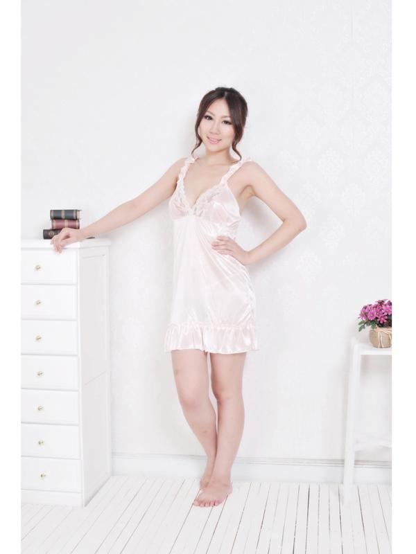 Sexy Fashion Sleep Dress Falbala Dress 9156 Pink